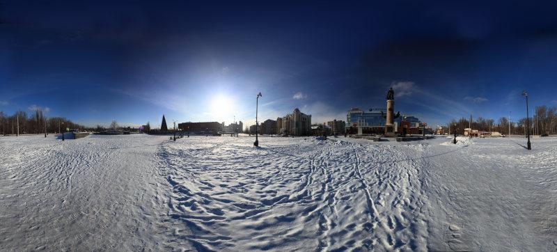 3д панорама города Липецка, площадь Петра I