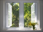 Фотообои окно в летний сад