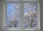 Фотообои окно в весененний сад цветущей сакуры